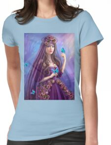 Beautiful woman fairy and blue butterflies.  Womens Fitted T-Shirt