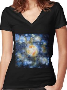 How To Create an Easy Abstract Blur pattren Women's Fitted V-Neck T-Shirt