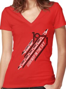 Monorail Red T-Shirt  Women's Fitted V-Neck T-Shirt
