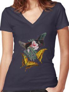TIR-Butterfly-3 Women's Fitted V-Neck T-Shirt