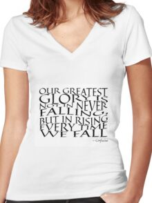 Confucius - Falling - Typography Women's Fitted V-Neck T-Shirt