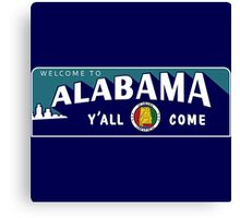 """Welcome to Alabama Y'All Come"", Vintage Road Sign 50s, USA Canvas Print"