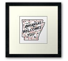 """""""Arkansas Welcomes You"""", Vintage Road Sign 50s, USA Framed Print"""