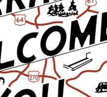 """""""Arkansas Welcomes You"""", Vintage Road Sign 50s, USA Sticker"""