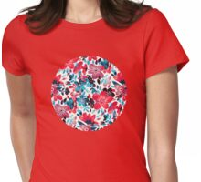 Happy Red Flower Collage Womens Fitted T-Shirt