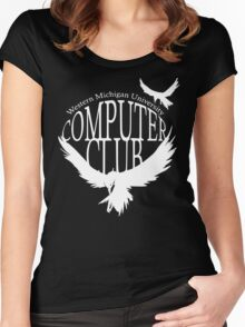 Computer Club Crow - White Women's Fitted Scoop T-Shirt