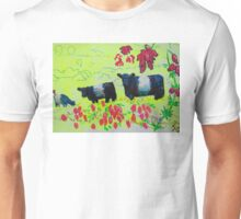 Heather and Belted Galloway Cows Dartmoor Unisex T-Shirt