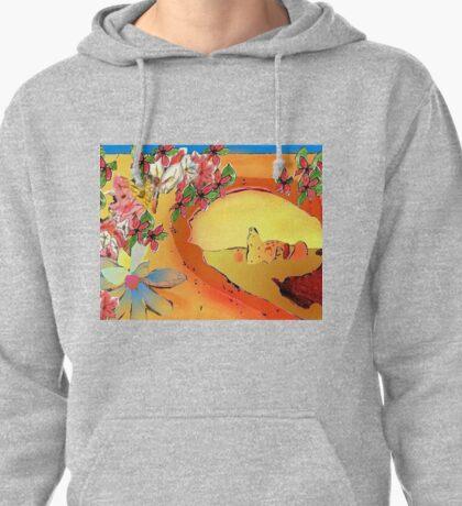 Desert Bridge Abstract with Flowers Orange Multi Pullover Hoodie