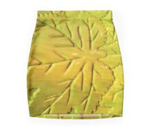 Green Gloss Leafs Mini Skirt