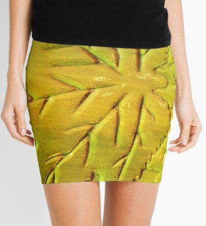 Green Gloss Leafs Mini Skirt