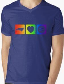 NC Loves Equality symbols--horizontal rainbow Mens V-Neck T-Shirt