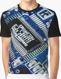 HDR - Blue Board Chips and Glowing Traces Graphic T-Shirt