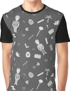 Pixel art 90's retro style grayscale design Graphic T-Shirt