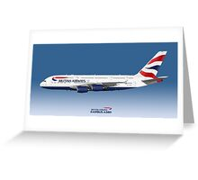 Illustration of British Airways Airbus A380 - Blue Version Greeting Card