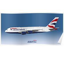 Illustration of British Airways Airbus A380 - Blue Version Poster
