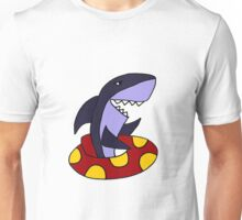 Funny Funky and Cool Shark in Red and Yellow Inner Tube Unisex T-Shirt