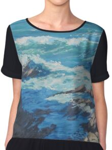 Along the Cliffs - Seascape Chiffon Top