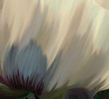 Poppy and Verdigris, dramatic cream poppy floral art Sticker
