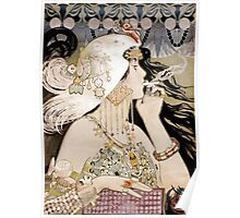 Vintage Fashion Art Nouveau mixed media smoking woman Poster