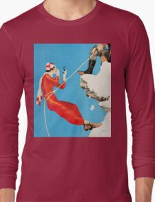 Humorous mountain climbing couple playful fashion art Long Sleeve T-Shirt