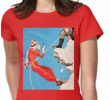 Humorous mountain climbing couple playful fashion art Womens Fitted T-Shirt