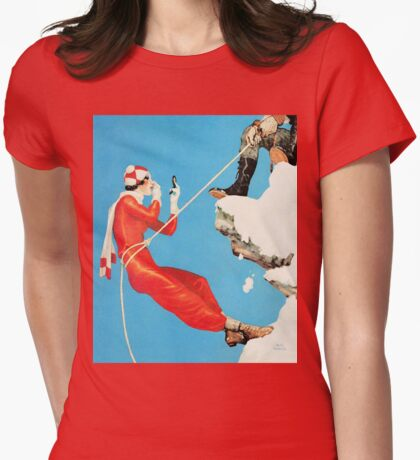Humorous mountain climbing couple playful fashion art Womens Fitted T-Shirt