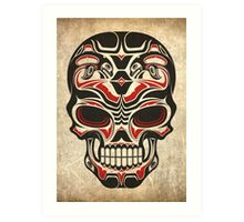 Aged and Worn Haida Native Skull Design Art Print