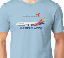 Illustration of Asiana Airlines Airbus A380 - Blue Version Unisex T-Shirt