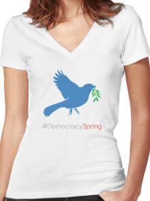 #DemocracySpring Women's Fitted V-Neck T-Shirt