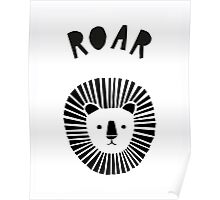 Lion Roar in Monochrome Poster
