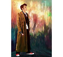 Time Traveller with abstract background art painting Photographic Print