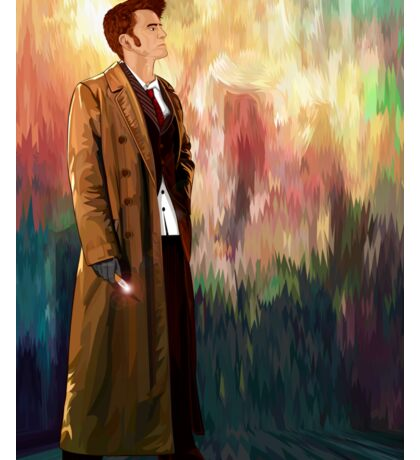 Time Traveller with abstract background art painting Sticker