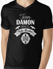 Team Damon Since Hello Brother. Damon Salvatore. TVD. Mens V-Neck T-Shirt