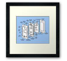 Mobile Phone (exploded) Drawing.  Framed Print