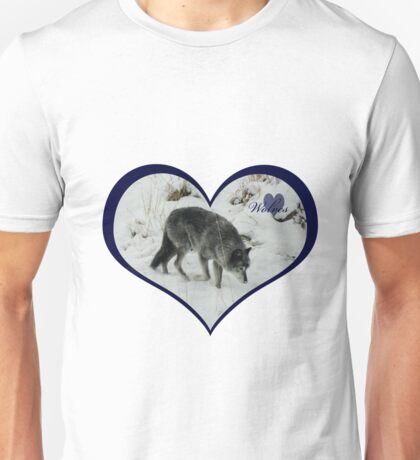 Blue Wolf Heart Unisex T-Shirt