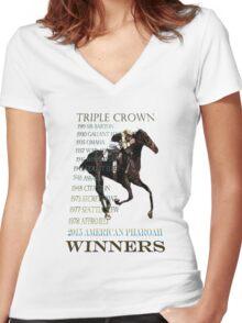 Triple Crown Winners 2015 American Pharoah Women's Fitted V-Neck T-Shirt