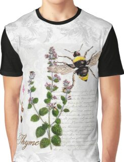 Shabby Chic Thyme herb Bumble Bee illustration art Graphic T-Shirt