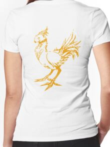 Gold chocobo Women's Fitted V-Neck T-Shirt