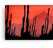 Desert Cactus Silhouette Canvas Print