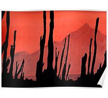 Desert Cactus Silhouette Poster