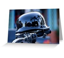 Harley with reflective helmet Greeting Card
