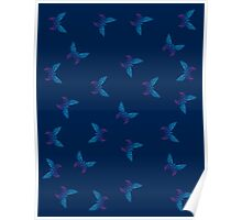 Butterflies dotted pattern Poster