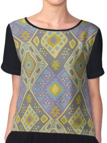 Aztec Tribal Pattern - Purple/Lime Chiffon Top