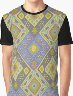 Aztec Tribal Pattern - Purple/Lime Graphic T-Shirt