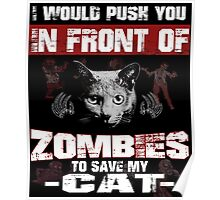 I would push you infront of zombies to save my cat Poster