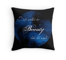 """""""She Walks in Beauty"""" Lord Byron Quote Throw Pillow"""