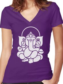 Ganesh Ganesa Ganapati 3 (white) Women's Fitted V-Neck T-Shirt