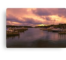 """Dawn at Charlevoix Marina"" Canvas Print"