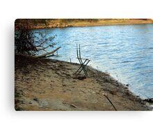 Chair By The Shore Canvas Print