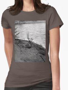 Chair By The Shore - Black and White Womens Fitted T-Shirt